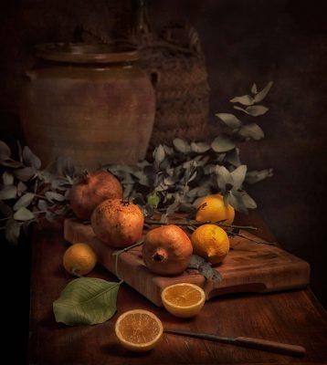 bodegon, granadas, limon, fotografia gastronomica, fotografia publicitaria, fotografia producto, fotografia profesional, Alicante