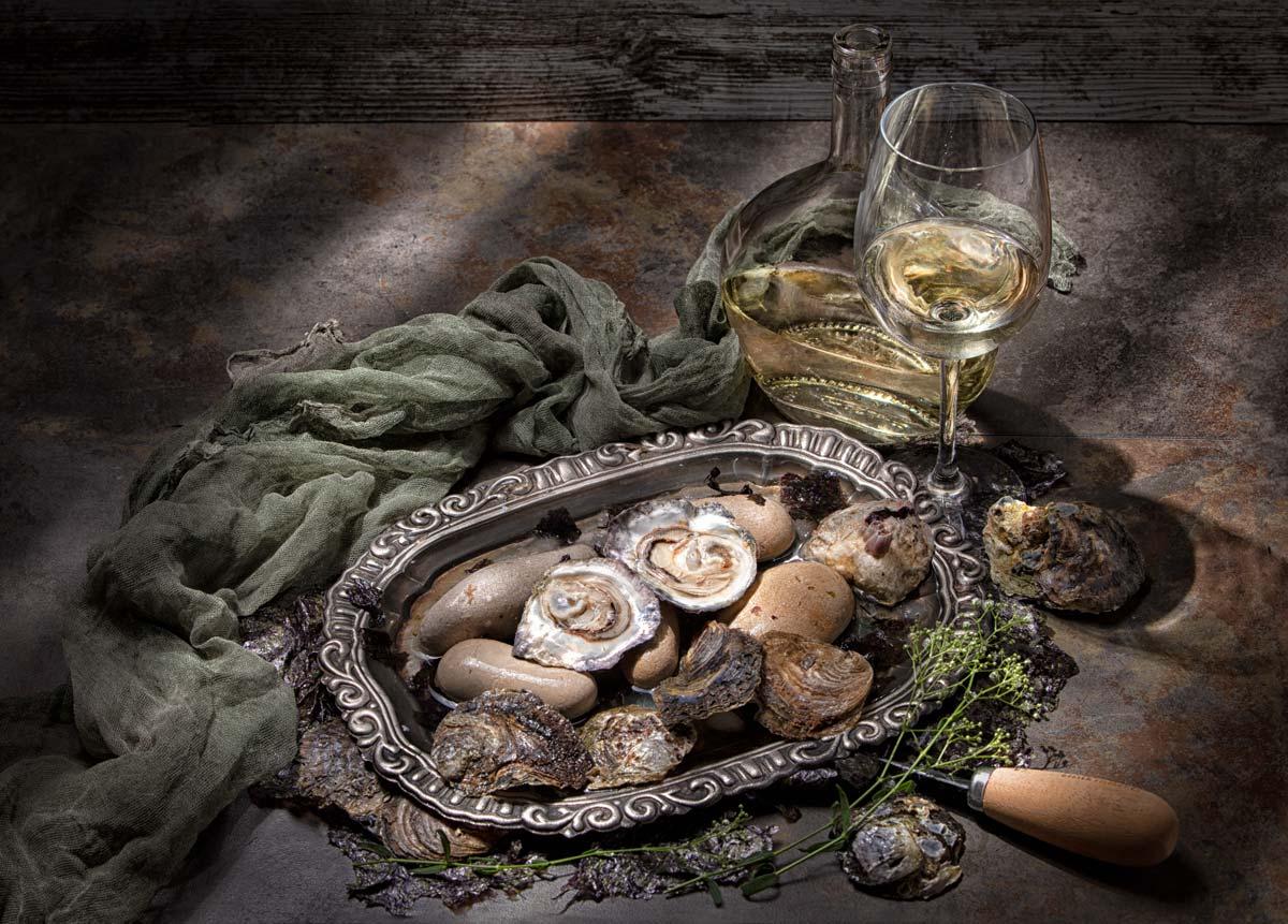 Fotografía gastronómica: Ostras y vino blanco